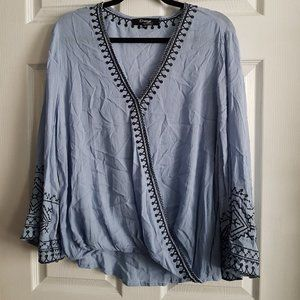 Embroidered Long Sleeve Criss Cross Top